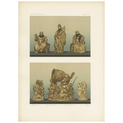Antique Print of Ivory Carvings 'Japan II' by G. Audsley, 1884