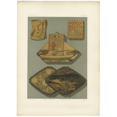 Antique Print of Japanese Box Elements, Lacquer by G. Audsley, 1882