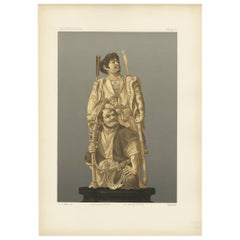 Antique Print of Japanese Carving in Ivory and Wood by G. Audsley, 1884
