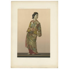 Antique Print of Japanese Modelling 'Kakiyemon' by G. Audsley, 1884