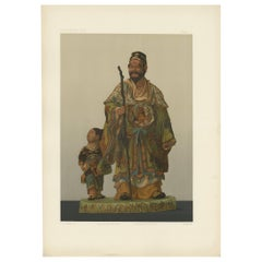 Antique Print of Japanese Terracotta by G. Audsley, 1884