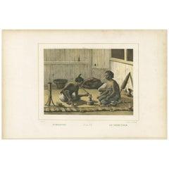 Antique Print of Javanese Locals Smoking Opium by Van Pers, circa 1850