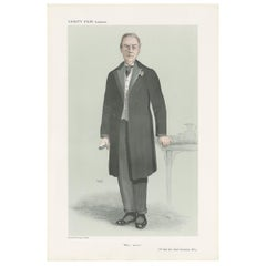 Antique Print of Joseph Chamberlain Published in the Vanity Fair, 1908