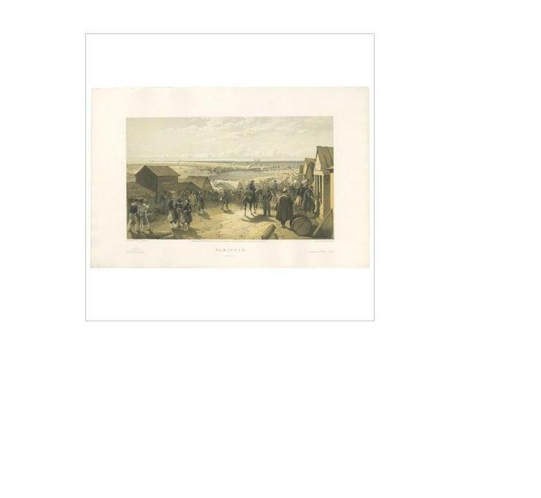 19th Century Antique Print of Kamiesch 'Crimean War' by W. Simpson, 1855 For Sale