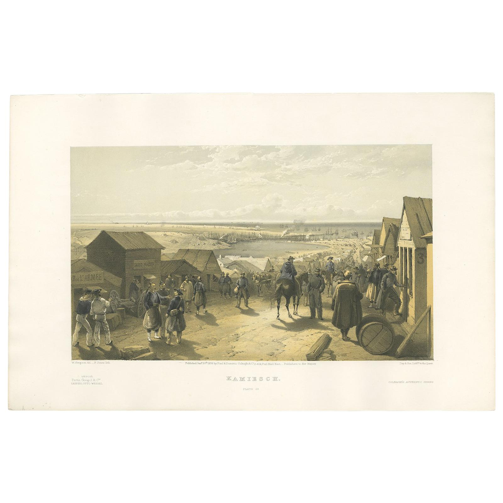 Antique Print of Kamiesch 'Crimean War' by W. Simpson, 1855
