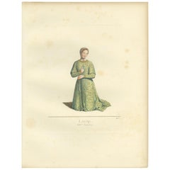 Antique Print of Laura, 14th Century, by Bonnard, 1860