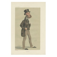 Antique Print of Lord Eslington Published in the Vanity Fair, 1876