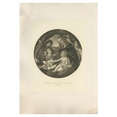 Antique Print of 'Madonna and Child with Angels' Made after Botticelli 'c.1890'