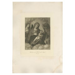 Antique Print of 'Madonna and Child with Angels' Made after Correggio 'c.1890'