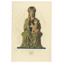 Antique Print of Madonna with Her Child by Delange '1869'