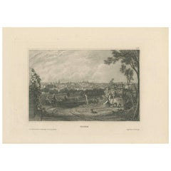 Antique Print of Madrid (c.1840)