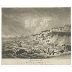 Antique Print of Margate During the Storm by Hassell, circa 1808