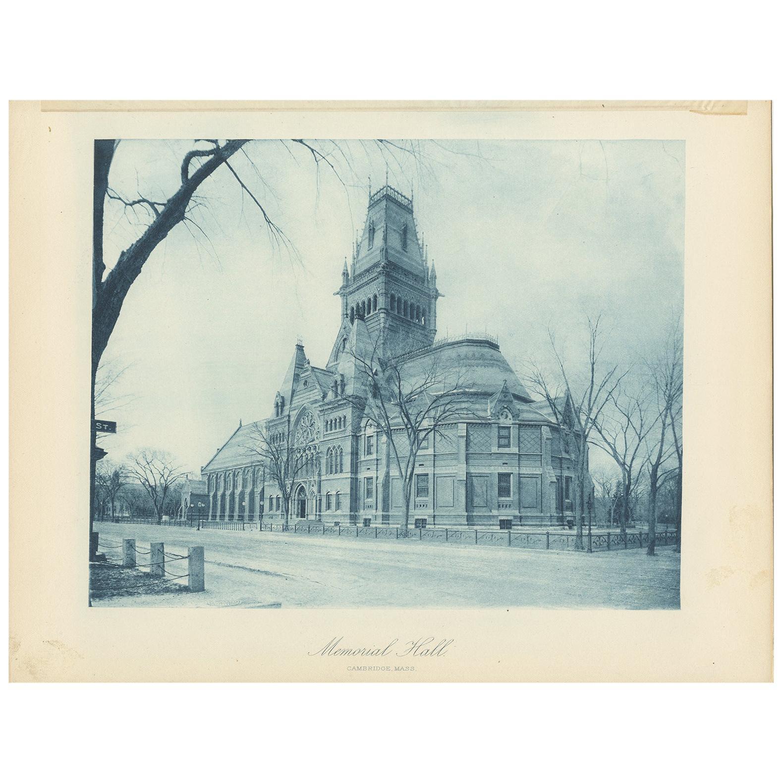 Antique Print of Memorial Hall in Cambridge, '1887'