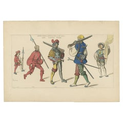Antique Print of Men at Arms by Jacquemin 'c.1870'