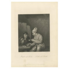 Antique Print of Men Drinking and Smoking by Payne, 'c.1850'