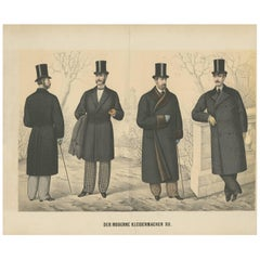 Antique Print of Men's Fashion, circa 1900