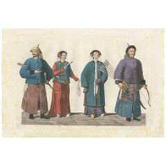 Antique Print of Military Mandarins by Ferrario '1831'