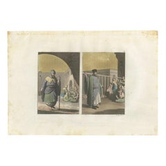 Antique Print of Monks and Pilgrims by Ferrario '1831'