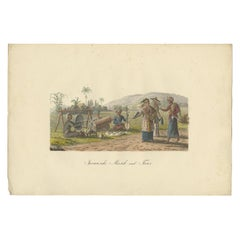 Antique Print of Music and Dance of Java by Hurter, circa 1830