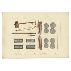 Print of Musical Instruments and Other Items of Java by Hurter 'circa 1830'
