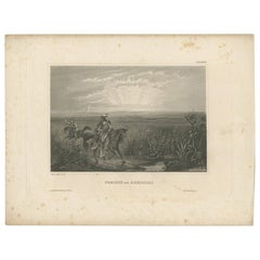 Antique Print of Native American Indians on a Prairie in Arkansas '1857'