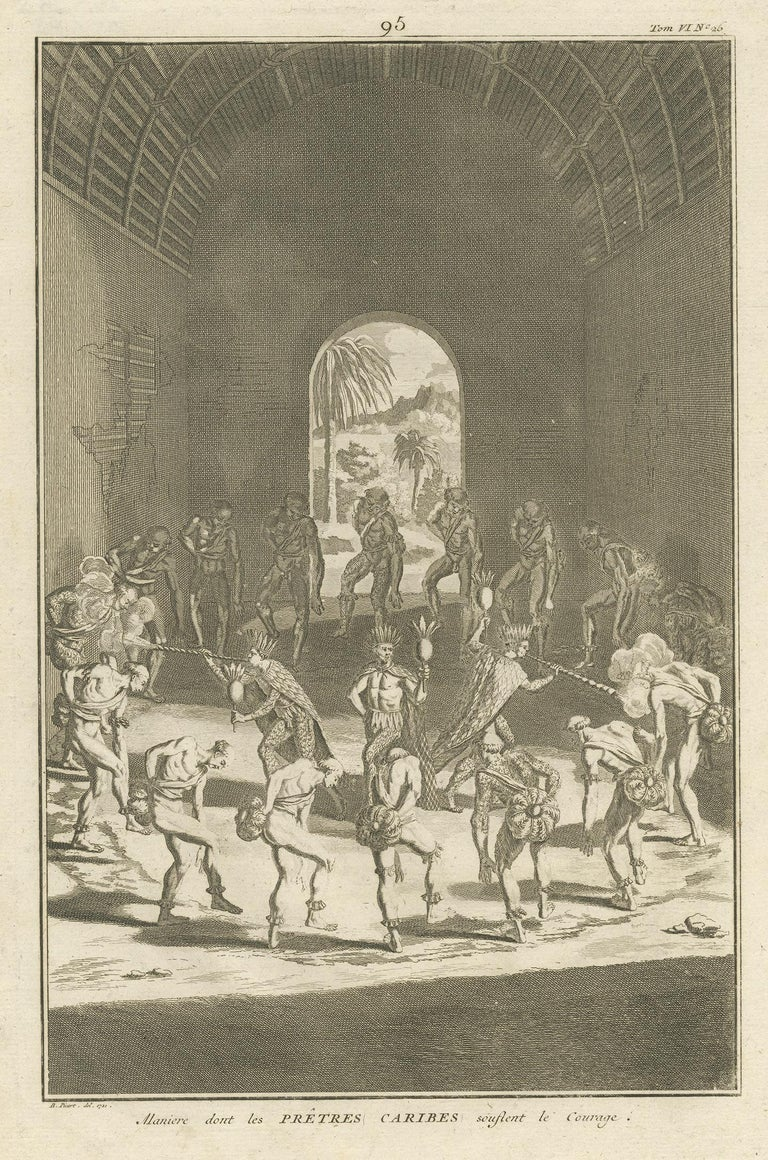 Antique religion print titled 'Maniere dont les Prêtres Caribes souflent le Courage'. This print depicts native Americans of Venezuela dancing in a dwelling preparing for war. This print originates from 'Ceremonies et costumes Religieuses (..)'.