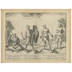 Antique Print of Natives of Southern Asia by Linschoten, circa 1605
