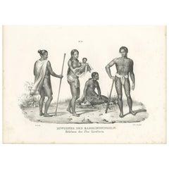Antique Print of Natives of the Caroline Islands by Honegger, 1836
