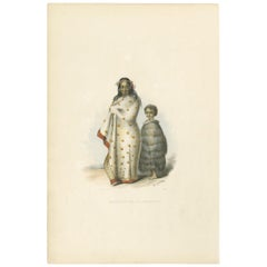 Antique Print of Ngeungeu and Her Son by Angas, '1847'
