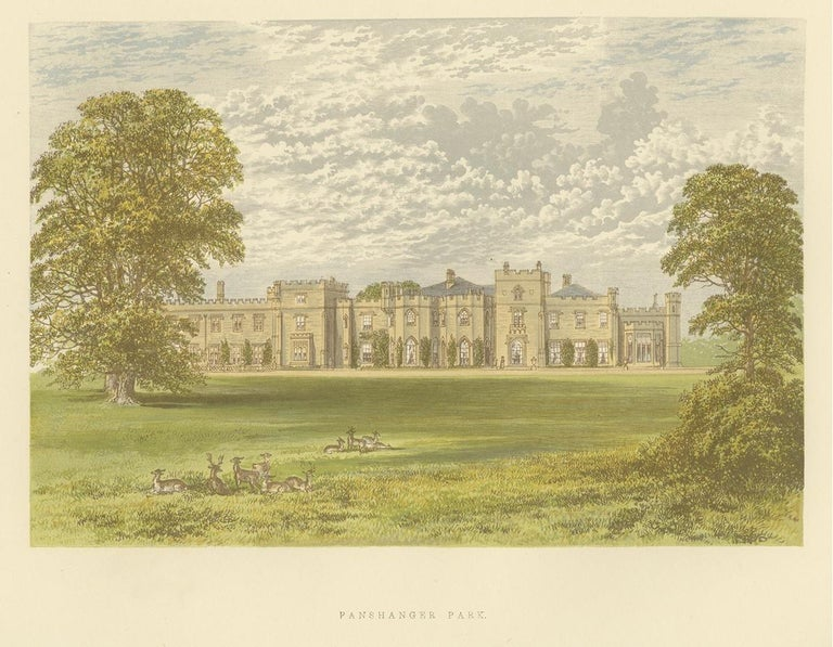Antique print titled 'Panshanger Park'. Color printed woodblock of Panshanger, it was a large country house located between the outer edge of Hertford and Welwyn Garden City in Hertfordshire, England. This print originates from 'Picturesque Views of