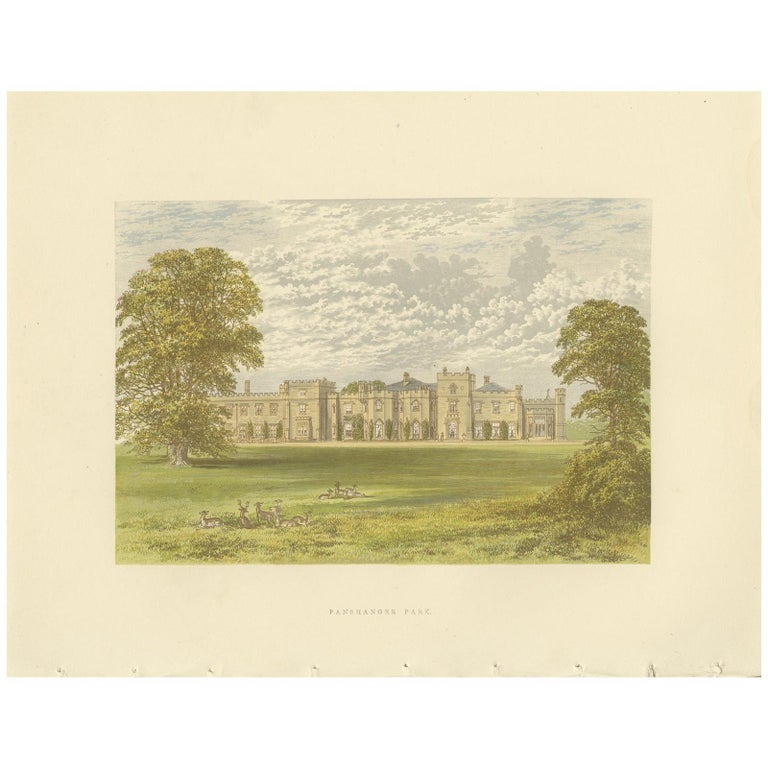 Antique Print of Panshanger by Morris, circa 1880 For Sale