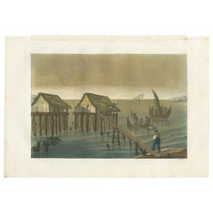 Antique Print of Papuan Houses by Ferrario, '1831'