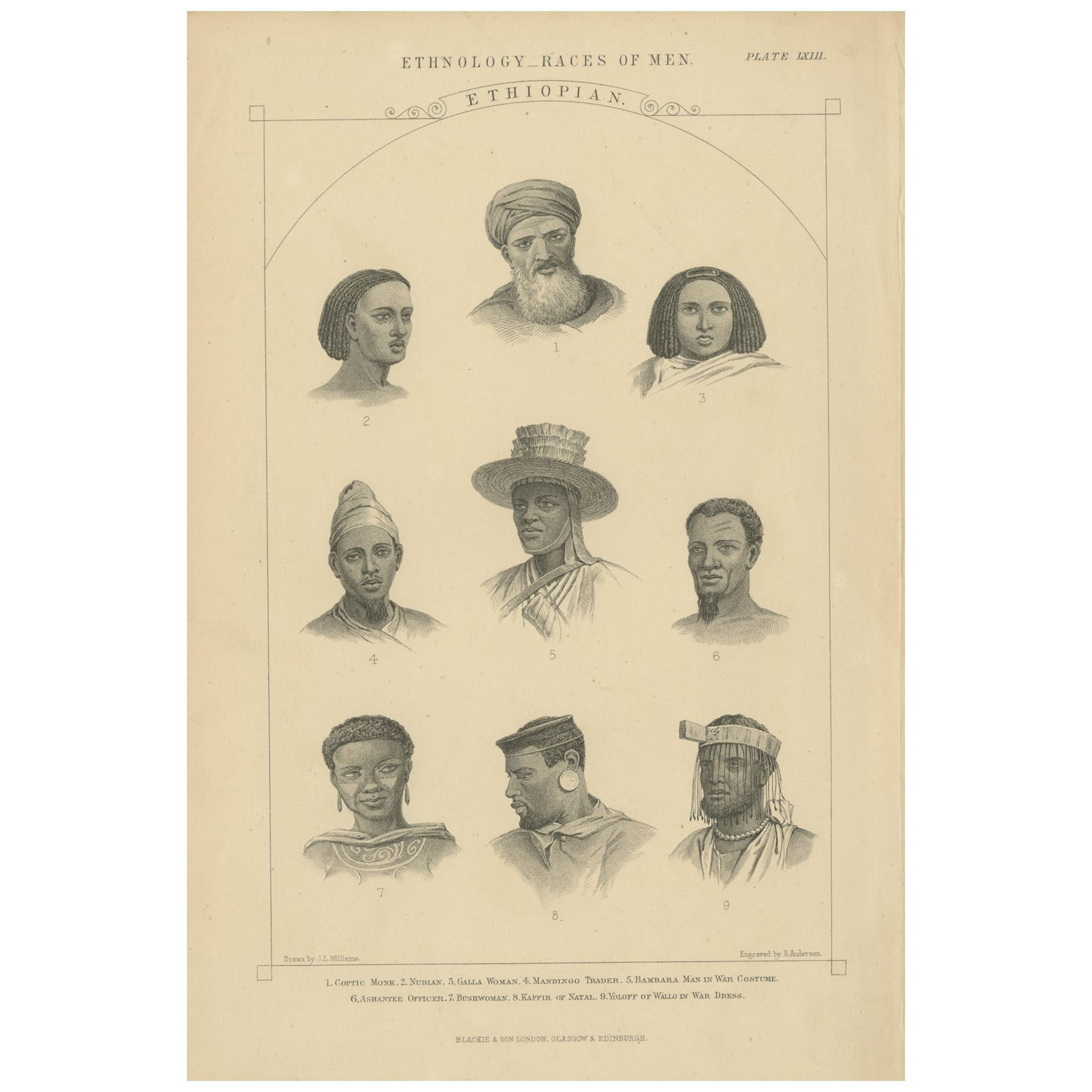 Antique Print of People of Ethiopia by Blackie & Son, circa 1875