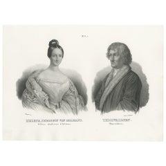 Antique Print of Princess Hélène of Orléans and Bertel Thorvaldsen (1845)