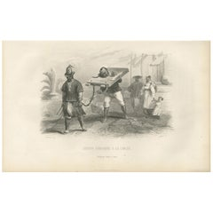 Antique Print of Punishment with a Cangue by D'Urville '1853'