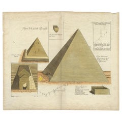 Antique Print of Pyramids in Egypt by Moette, '1696'