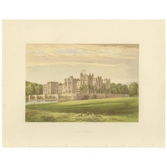 Antique Print of Raby Castle by Morris, circa 1880