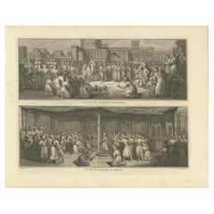 Antique Print of Religious Ceremonies by Picart, 1727