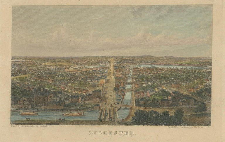 Antique print titled 'Rochester'. Hand colored steel engraving of Rochester including the Genesee river. Published by Charles Magnus, New York.