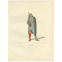 Antique Print of Roland, a Frankish Military Leader, by Bonnard, 1860