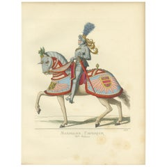 Antique Print of Roman Emperor Maximilian I, 15th Century, by Bonnard, 1860