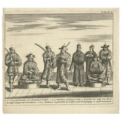 Antique Print of Royal Officials in Tunquin by Tavernier, '1682'