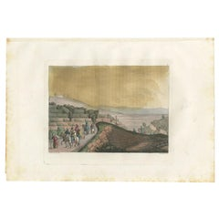 Antique Print of Ruins Between Rama and Jerusalem by Ferrario, '1831'