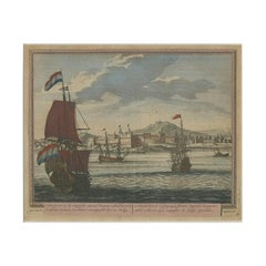 Antique Print of San Francisco de Campeche by Schenk, '1702'