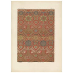 Antique Print of Silk and Gold Fabrics II 'Japan' by G. Audsley, 1882