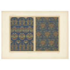 Antique Print of Silk and Gold Fabrics 'Japan' by G. Audsley, 1882