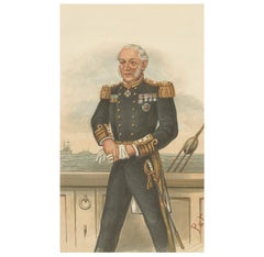 Antique Print of Sir Edmund Robert Fremantle Published in the Vanity Fair, 1894