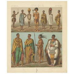 Antique Print of South African Tribes by Racinet, 1888