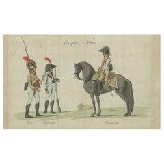 Antique Print of Spanish Military Costumes, 'c.1810'