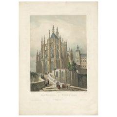 Antique Print of St. Barbara's Church in Kutná Hora, circa 1850